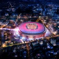 A hand-out computer rendered image provided by FC Barcelona shows the projected renovation of Barcelona's Camp Nou stadium. | AFP-JIJI