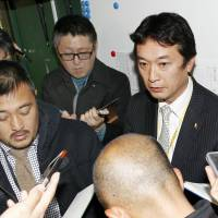 SoftBank's Sugihiko Mikasa, deputy head of baseball operations, speaks to reporters prior to the Hawks' preseason game against Seibu on Wednesday in Tokorozawa, Saitama Prefecture. | KYODO