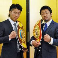 WBO super flyweight champion Naoya Inoue (left) and IBF light flyweight champion Akira Yaegashi will defend their titles in a doubleheader on May 8. | KYODO