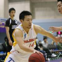 Sendai 89ers guard Fumiya Sato, seen in a file photo, put 10 points on the board in the visitors' win over the Iwate Big Bulls on Saturday. | KAZ NAGATSUKA