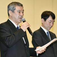 Hiroshi Kubo, president of the Yomiuri Giants, speaks at a news conference on Tuesday. | KYODO