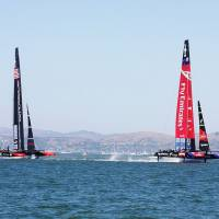 The 2013 America's Cup, seen in this file photo, was staged on San Francisco Bay. In preparation for next year's extravaganza, Fukuoka will host an America's Cup World Series race in November.   WIKIMEDIA/CC BY 2.0 — DONAN RAVEN