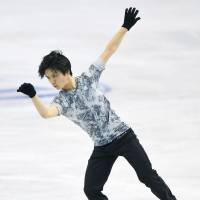 Shoma Uno, seen here at practice on Monday, is competing in the senior world championships for the first time this week in Boston. He was the world junior champion last season. | KYODO
