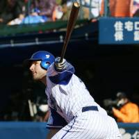 Yokohama BayStars infielder Jamie Romak led the Pacific Coast League with 27 home runs last season and had 100 RBIs. | KYODO