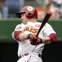 Rakuten Eagles newcomer Jonny Gomes hit 162 home runs and drove in 526 runs during his 13 years in the majors. | KYODO