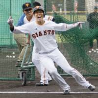 Hayato Sakamoto and the Giants hope to still be smiling in October. | KYODO