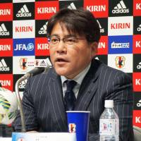 Japan under-23 manager Makoto Teguramori announces his squad for an upcoming tour of Portugal on Monday. | KYODO