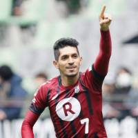 Vissel Kobe's Pedro Junior celebrates after opening the scoring in Sunday's 4-1 win over Kashima Antlers. | KYODO