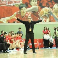 Fujitsu head coach BT Toews, seen in this file photo from a regular-season game in November, leads the Red Wave to the WJBL Finals for the second year in a row. | KAZ NAGATSUKA