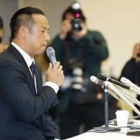 Former Triple Crown winner Nobuhiko Matsunaka speaks at a news conference on Tuesday in Fukuoka. | KYODO