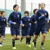 Nadeshiko Japan players take part in a training session on Sunday in Sakai, Osaka Pref., ahead of their 2016 Rio Games qualifier against Vietnam on Monday. | KYODO