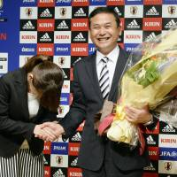 Norio Sasaki, seen at his farewell news conference on Friday, says he wants to 'treasure' the team's results from his tenure as Nadeshiko Japan head coach. | KYODO