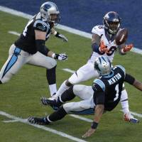 Denver's Von Miller (58) strips the ball from Carolina quarterback Cam Newton during Super Bowl 50 in Santa Clara, California, last month. | AP