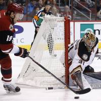 Anaheim goalie Frederik Andersen makes a save on a shot by Arizona's Shane Doan in the second period on Thursday night. | AP