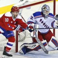 Rangers goalie Antti Raanta gets ready to make a save in the third period against the Capitals on Friday in   Washington. New York won 3-2. | AP