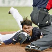 Hayato Sakamoto slides home in the ninth inning of Japan's 9-3 win over Taiwan in the second exhibition game between the teams in Osaka on Sunday. | KYODO