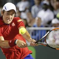 Kei Nishikori plays a shot during his 6-2, 6-4 win over Roberto Bautista Agut at the Miami Open on Tuesday. | AP