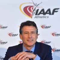 IAAF president Sebastian Coe appears at a news conference on Friday in Monte Carlo, Monaco, following a two-day council meeting concerning anti-doping reform efforts by the Russian federation.   AP