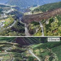 Photographs of the village of Minamiaso, Kumamoto Prefecture, taken before and after the April 16 earthquake show the damage caused by landslides. | KYODO