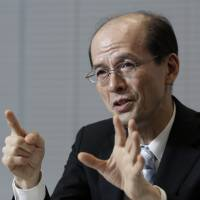 Norihiro Takahashi, president of the Government Pension Investment Fund, is interviewed at the company's offices in Tokyo on Tuesday. | BLOOMBERG