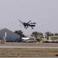 A U.S. Air Force MQ-9 Reaper drone takes off from Kandahar Airfield in Afghanistan on March 9. | REUTERS