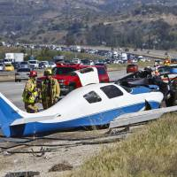Plane crash kills one on freeway where it once landed safely