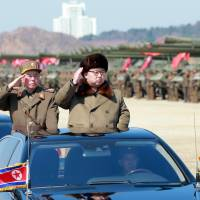 North Korean leader Kim Jong Un arrives to inspect a military drill at an unknown location in this photo released last month.   REUTERS