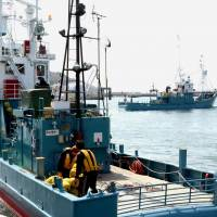 Whaling ships leave port in the city of Ishinomaki, Miyagi Prefecture, on Saturday to hunt up to 51 minke whales in nearby waters through late May for the government's scientific program. | KYODO
