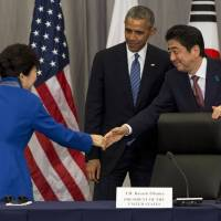 Obama, Abe, Park stand united against Pyongyang's 'provocations' but China offers no tough talk