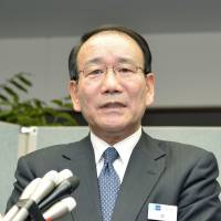 Tokyo Metro President Yoshimitsu Oku answers questions from reporters on Tuesday following an incident on a train the previous day. | KYODO