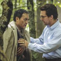 Serious talks: Ken Watanabe and Matthew McConaughey star as two men facing their inner battles as they struggle to survive the wilderness in 'The Sea of Trees.' | © 2015 GRAND EXPERIMENT, LLC.