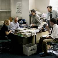 Desk work before legwork (left to right): Rachel McAdams, Michael Keaton, Mark Ruffalo, Liev Schreiber and Brian d'Arcy James as The Boston Globe's Spotlight team. | PHOTO BY KERRY HAYES, © 2015 SPOTLIGHT FILM, LLC
