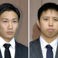 Badminton players Kento Momota (left) and Kenichi Tago admitted to gambling in casinos in Japan, where casino gambling is illegal. | KYODO