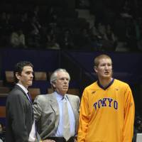 Bob Hill (center) coached Robert Swift, a first-round NBA draft pick, on the Tokyo Apache during the 2010-11 season after mentoring him as the Seattle SuperSonics bench boss from 2005-07. Casey Hill, Bob's son, seen while serving as Tokyo assistant during the team's last bj-league season, is now the head man for the NBA Development League's Santa Cruz Warriors.   KAZ NAGATSUKA