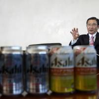 Akiyoshi Koji, president and chief operating officer of Asahi Group Holdings Ltd., speaks during a recent interview at the company's headquarters in Tokyo. | BLOOMBERG