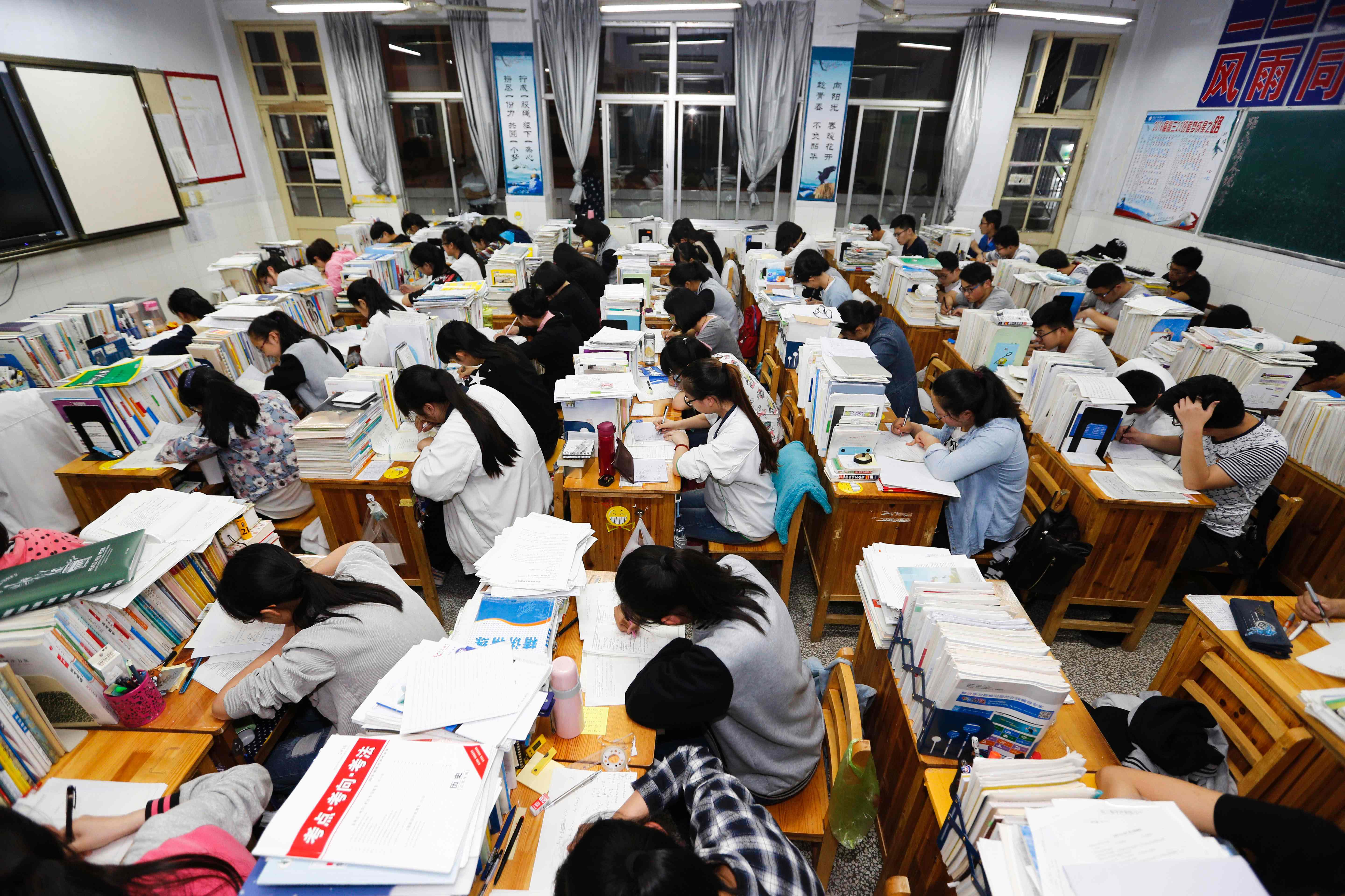 industry helps chinese game their way into and through u s high school students study at night for college entrance exams in lianyungang