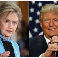 A combination photo shows U.S. Democratic presidential candidate Hillary Clinton and Republican U.S. presidential candidate Donald Trump, in Los Angeles on May 5 and in Eugene, Oregon, on May 6, respectively. | REUTERS
