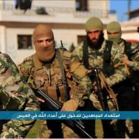 This image posted to the Twitter page of Syria's al-Qaida-linked Nusra Front on April 1 shows fighters from the group marching toward the northern village of al-Ais, Syria. | AP