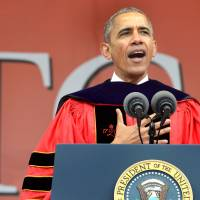 Neither walls nor ignorance will solve anything, Obama tells Rutgers grads