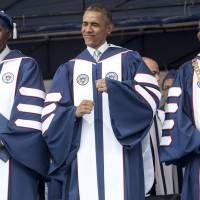 Obama speaks at black college on how race relations have improved