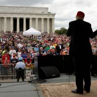 Republican U.S. presidential candidate Donald Trump addresses the Rolling Thunder motorcycle rally to highlight POW-MIA issues on Memorial Day weekend in Washington Sunday. | REUTERS