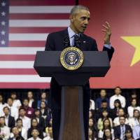 U.S. President Barack Obama speaks during the Young Southeast Asian Leaders Initiative town hall at the GEM Center in Ho Chi Minh City on Wednesday. | AP