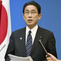Foreign Minister Fumio Kishida addresses reporters in Hiroshima on Friday, after U.S. President Barack Obama paid a historic visit. | KYODO