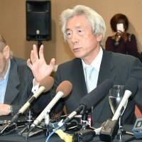 Former Prime Minister Junichiro Koizumi speaks at a news conference Tuesday in Carlsbad, California. | KYODO