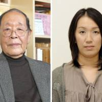 Shigehiko Hasumi (left), who researches French literature and is a former president of the University of Tokyo, has been named this year's recipient of the Mishima Yukio Prize, while author Kanae Minato will be awarded the Yamamoto Shugoro Prize. | KYODO