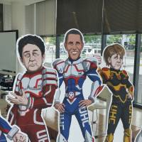 Figures resembling the Group of Seven leaders are displayed at a venue for nongovernmental organization meetings in Ise, Mie Prefecture, on Thursday. | TOMOHIRO OSAKI