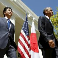 U.S. President Barack Obama, seen here with Prime Minister Shinzo Abe at joint news conference at the White House in Washington in April last year, will become the first active U.S. president to visit Hiroshima. Obama will make the historic visit accompanied by Abe 'to highlight his continued commitment to pursuing the peace and security of a world without nuclear weapons,' White House spokesman Josh Earnest said Monday. | REUTERS