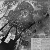 This photo panel held at a think tank in Washington shows an aerial image of Hiroshima just after the atomic bomb was dropped on the city in August 1945. | KYODO