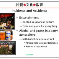A slide from the 'Okinawa Cultural Awareness Training' initiation presentation for U.S. Marines.