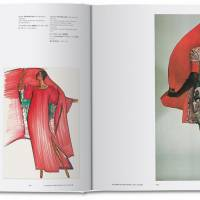 Miyake's illustrations for dresses in his 1976 'Paradise Lost' collection (left); modeled by Iman (right) | NORIAKI YOKOSUKA